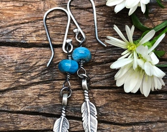 Little Feather Earrings with Apatite