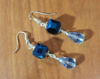 Blue crystal drop earrings.