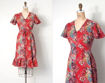 vintage 1970s dress | red cotton print 70s dress | flutter sleeves (small)