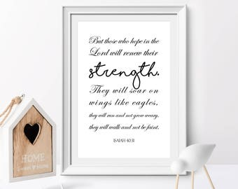 Bible verse printable, Lord will renew their strength, Isaiah 40:31, Christian Nursery, Christian Gift, Inspirational quote, Scripture Print