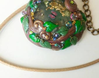 Fairy resin and polymer clay necklace