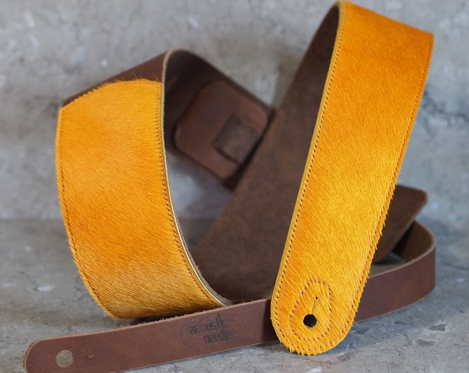 Sunset Gold Hair-on-Hide and Brown Leather Guitar Strap