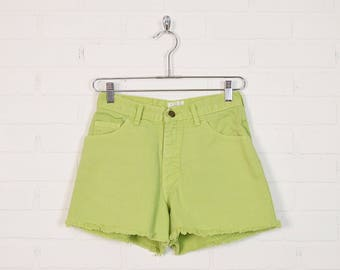 Vintage Lime Green High Waist Jean Shorts High Waist Denim Shorts Cut Off Jean Cutoff 80s 90s Grunge Shorts Festival Shorts 6 S Small 27