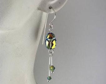 Scarab earrings, scarab beetle earrings, beetle earrings, crystal beetle earrings