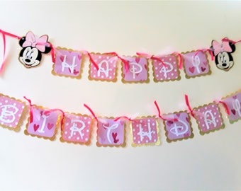 Pink and Gold Minnie Mouse Happy Birthday Banner, Pink and Gold Minnie Mouse polka dot banner, Minnie Mouse Party