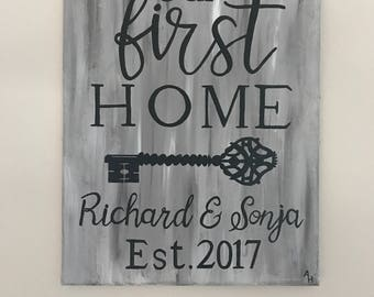 Housewarming Canvas: Our First Home