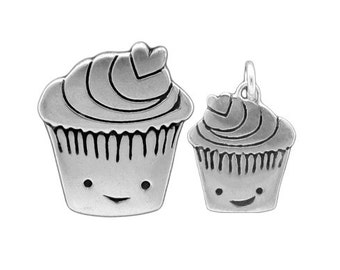Mother Daughter Cupcake Necklace Set - Sterling Silver Cupcake Pendants