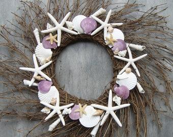 Wreath - Seashell and sugar starfish wreath, Shell wreath, coastal wreath