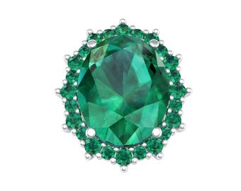 Oval Cluster Halo Emerald Ring, Halo Ring, Ring, Engagement Ring, Oval Ring, Emerald, Emerald Ring, Emerald Jewelry, Gift