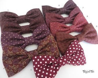 Wine Mismatched Wedding Bow Ties, Plum Wedding Bow Ties, Vineyard Wedding, Burgundy Wedding Bow Ties