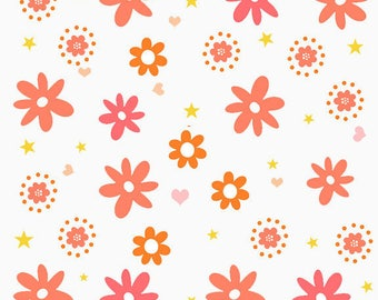 Printed fabric stylized flowers