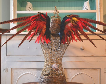 Feather Wings Phoenix Out Of The Ashes red black yellow orange Made to Order