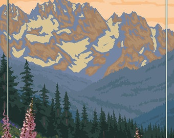 Olympic Peninsula, Washington - Bears and Spring Flowers (Art Prints available in multiple sizes)