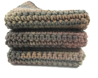 Coffee Bean Crochet Dish Cloth Wash Cloth Set of Three