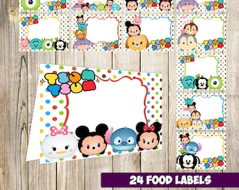 24 Tsum Tsum Food Tent Cards instant download, Printable Tsum Tsum Labels, Tsum Tsum labels party printable