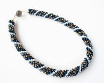 Navy Beadwork Spiral Necklace - Statement Necklace Set