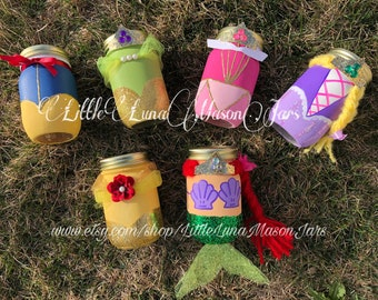 Princess mason jar party, Cinderella , Repunzel, Belle, Snow White, Sleeping beauty, Ariel, princess and the frog birthday centerpiece