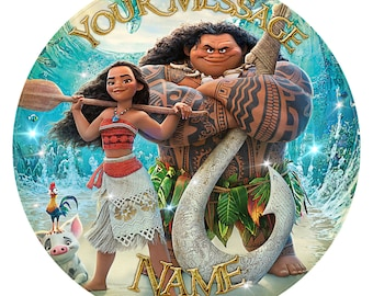 """Moana Inspired Personalised Party Birthday Cake Topper. Edible print on icing 7.5"""""""