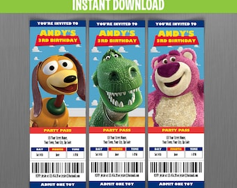 Disney Toy Story Ticket Invitations - Instant Download and Edit with Adobe Reader