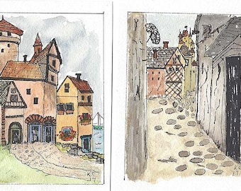 Pair of Original Pen and Ink Drawings with Watercolor Wash of Urban Street Scene - European Village Scenes - Not a Print