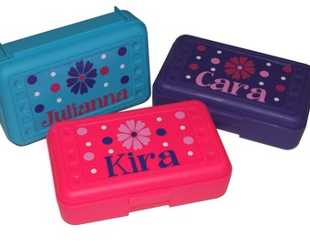 BACK TO SCHOOL - Personalized  Pencil Box / Art Supply Box - Flowers