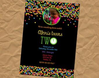 Custom New Year's Eve Birthday Invitation - Bright Confetti