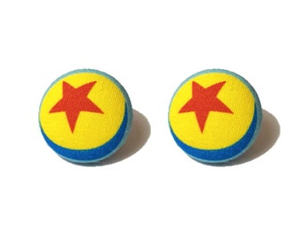 """Pixar Pals """"Luxo Ball"""" Toy Story Ball Inspired Fabric Button Earrings"""