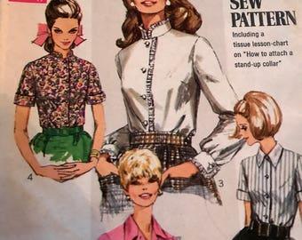 Vintage 1960's Blouse Pattern---Simplicity 7780---Size 18  Bust 40