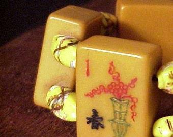 bakelite amber venitian bead mah jong bracelet jan carlin original
