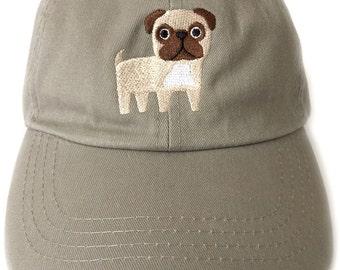 Pug baseball cap, embroidered khaki baseball cap with adjustable back, gift for her