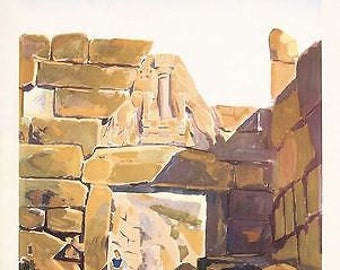 Vintage Greek Mycenae Lion Gate Travel Poster A3 Print