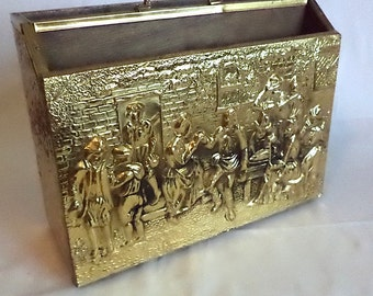 Magazine Rack Stand Unique Brass High Relief Embossed 2 Compartments Wood Fiesta Dance Musicians