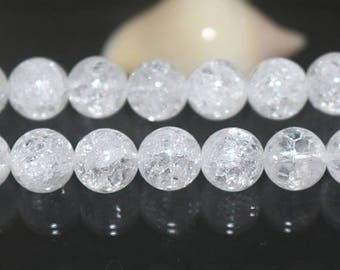 Natural Snow Rock Crystal Quartz round beads, 15 inches 1 strand 8mm 10mm