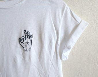 Organic Cotton Tee, OK Tumblr Hand, Shirt hand stitched, indie, blogger, grunge festival