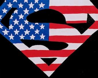American Superman acrylic painting