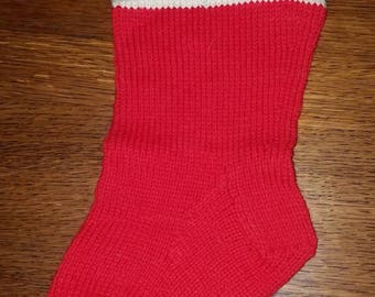 Sweet and Simple Vintage Knit Wool Christmas Stocking