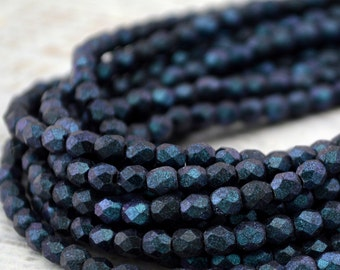 POLYCHROME INDIGO ORCHID Czech Glass Round Beads 3mm, Faceted Round Qty 50, Blue Firepolished Small