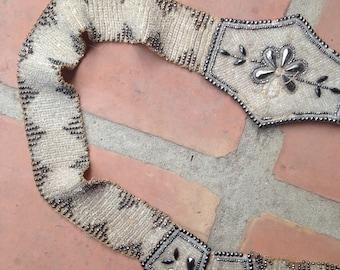 Antique 1920s beaded belt/ 20s drop waisted flapper belt