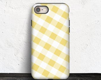 Yellow Gingham iPhone 8 TOUGH Case - Pattern with Yellow and White - iPhone 8 Plus tough Case