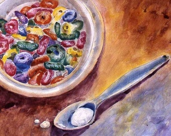 original watercolor, Fruit Loops