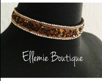 Brown Stone Gold Chain Diamante Rhinestone Choker