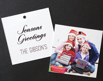 Gift Tags for Christmas Presents - Add your family photo and tie them onto your holiday presents (Square Tags)