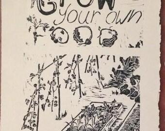Grow Your Own Food Block Print