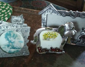 Lot of 3 vintage pewter pet frames