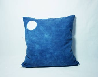 Moonstone, natural dye indigo cushion in cotton.