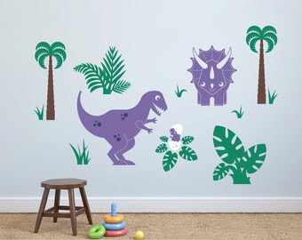 Dinosaur Wall Decals: T-Rex, Baby & Triceratops (Pack of 3) Dino Baby Nursery Prehistoric Theme Room Decor (MEDIUM SIZE)