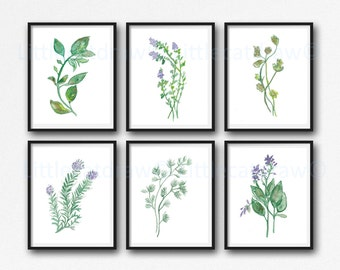 Garden Herb Print Set of 6 Watercolor Green Botanical Print Kitchen Wall Art Home Decor Art Print Wall Decor Herb Set Unframed
