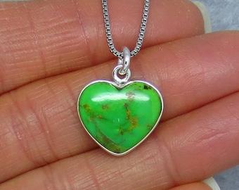 Small Gaspeite Heart Necklace - Sterling Silver - Simple - Dainty - Australian Gaspeite - SU170819