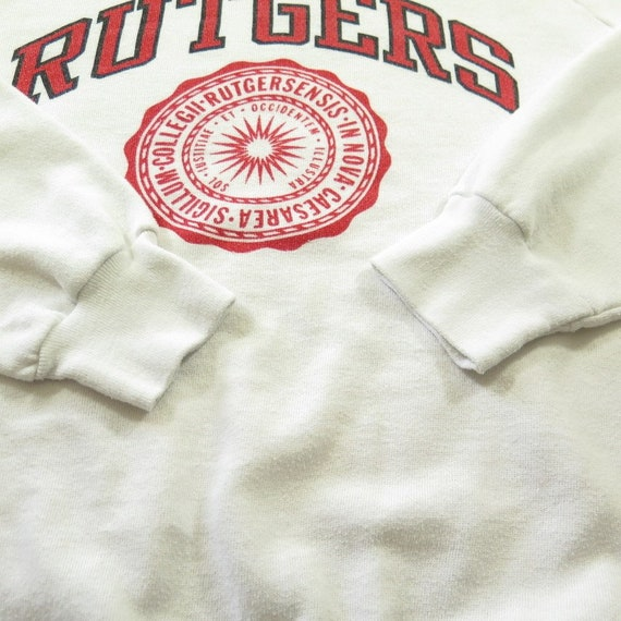 H99D Champion 80s 50 University Shelf Vintage USA Sweatshirt XL Crest 0 M Rutgers 50 White 10 Rw7dFnqd4
