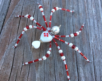 Ardor - beaded spider Halloween Christmas red and white glass goth sun catcher - Halloween decoration - Christmas ornament